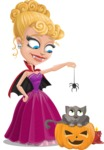 Vampire Girl Cartoon Vector Character - Playing With Cat on Halloween