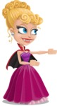 Vampire Girl Cartoon Vector Character - Showing witha Smile