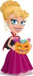 Vampire Girl Cartoon Vector Character - Trick Or Treating