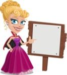 Vampire Girl Cartoon Vector Character - With a Blank Wood Sign