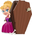 Vampire Girl Cartoon Vector Character - With a Coffin and a Zombie