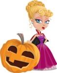 Vampire Girl Cartoon Vector Character - With Big Halloween Pumpkin
