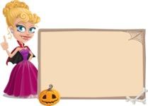 Vampire Girl Cartoon Vector Character - With Blank Halloween Whiteboard