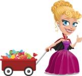 Vampire Girl Cartoon Vector Character - With Candy Wagoon