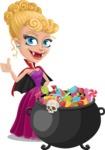 Vampire Girl Cartoon Vector Character - with Cauldron full of Sweets