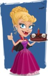 Vampire Girl Cartoon Vector Character - With Flat Background