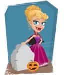 Vampire Girl Cartoon Vector Character - With Graveyard Background