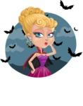 Vampire Girl Cartoon Vector Character - With Halloween Background with Bats