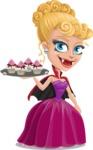 Vampire Girl Cartoon Vector Character - With Halloween Sweets