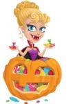 Vampire Girl Cartoon Vector Character - With Huge Pumpkin full of Treats
