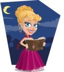 Vampire Girl Cartoon Vector Character - With Moon Background