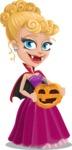 Vampire Girl Cartoon Vector Character - With Pumpkin