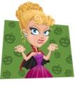 Vampire Girl Cartoon Vector Character - With Pumpkins Background