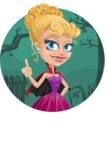 Vampire Girl Cartoon Vector Character - With Simple Style Halloween Background