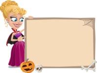 Vampire Girl Cartoon Vector Character - With Whiteboard on Halloween Theme