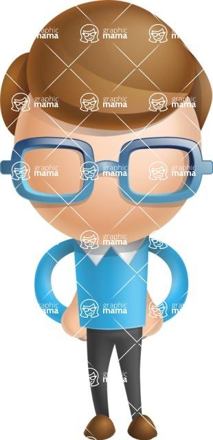 Simple Businessman Vector 3D Cartoon Character AKA Nerdy - Normal