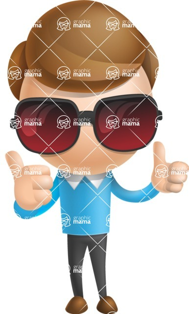 Simple Businessman Vector 3D Cartoon Character AKA Nerdy - Sunglasses