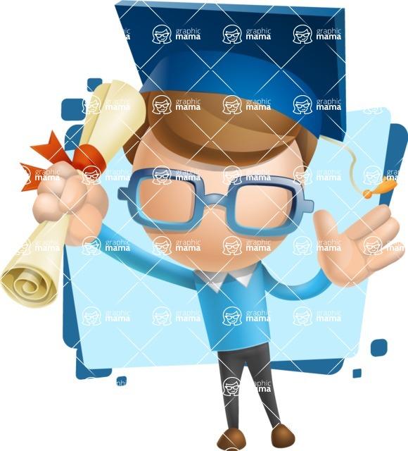 Simple Businessman Vector 3D Cartoon Character AKA Nerdy - Shape5