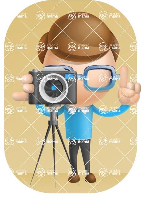 Simple Businessman Vector 3D Cartoon Character AKA Nerdy - Shape9