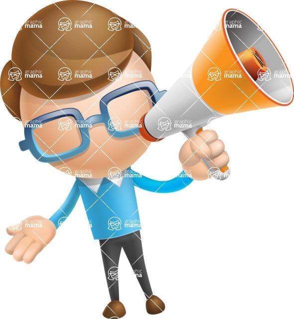 Simple Businessman Vector 3D Cartoon Character AKA Nerdy - Loudspeaker