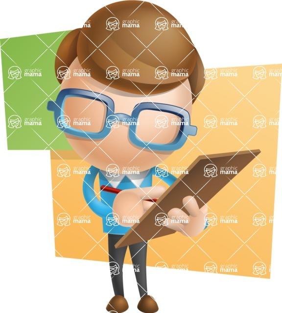 Simple Businessman Vector 3D Cartoon Character AKA Nerdy - Shape10