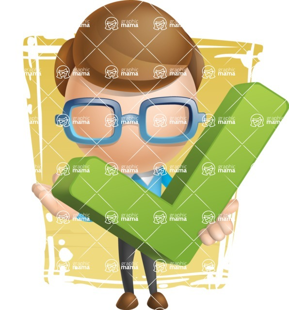 Simple Businessman Vector 3D Cartoon Character AKA Nerdy - Shape11