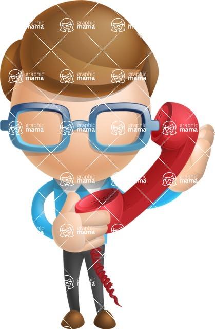 Simple Businessman Vector 3D Cartoon Character AKA Nerdy - Phone