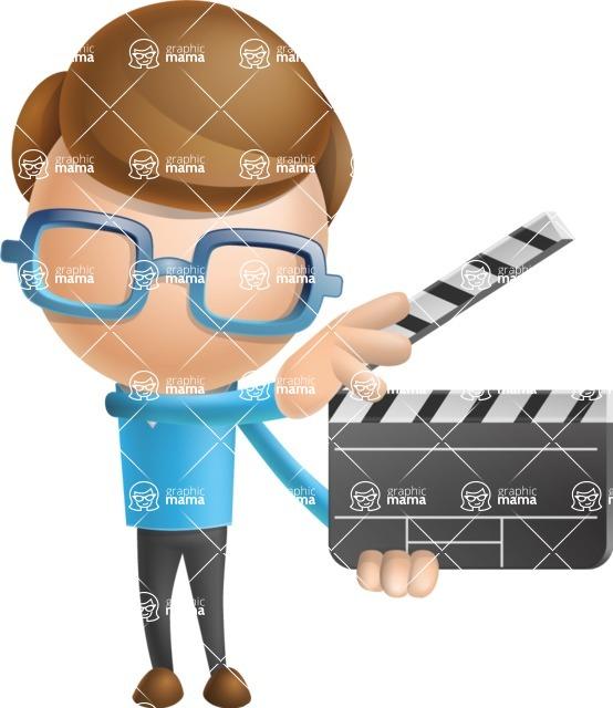 Simple Businessman Vector 3D Cartoon Character AKA Nerdy - Movie