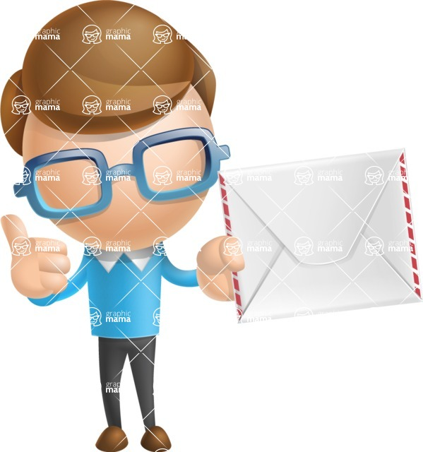 Simple Businessman Vector 3D Cartoon Character AKA Nerdy - Letter