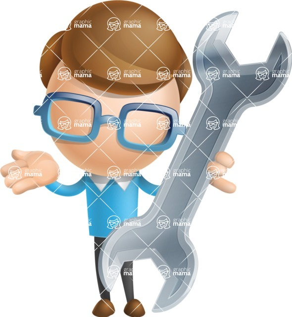 Simple Businessman Vector 3D Cartoon Character AKA Nerdy - Repair