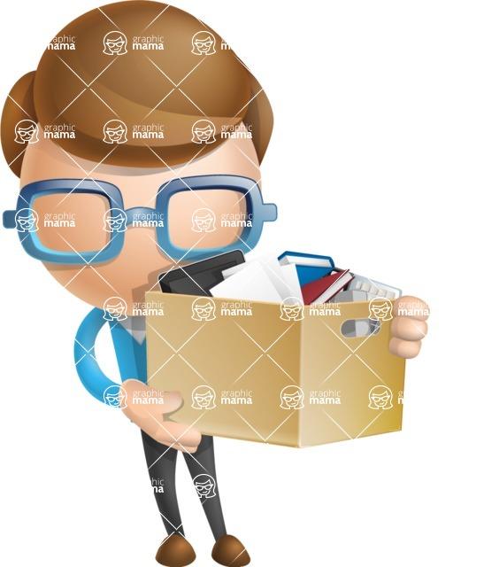 Simple Businessman Vector 3D Cartoon Character AKA Nerdy - Box