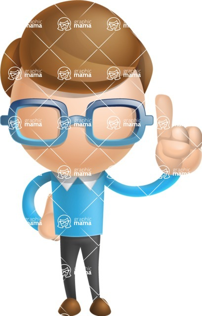 Simple Businessman Vector 3D Cartoon Character AKA Nerdy - Attention