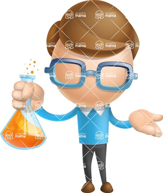 Simple Businessman Vector 3D Cartoon Character AKA Nerdy - Flask