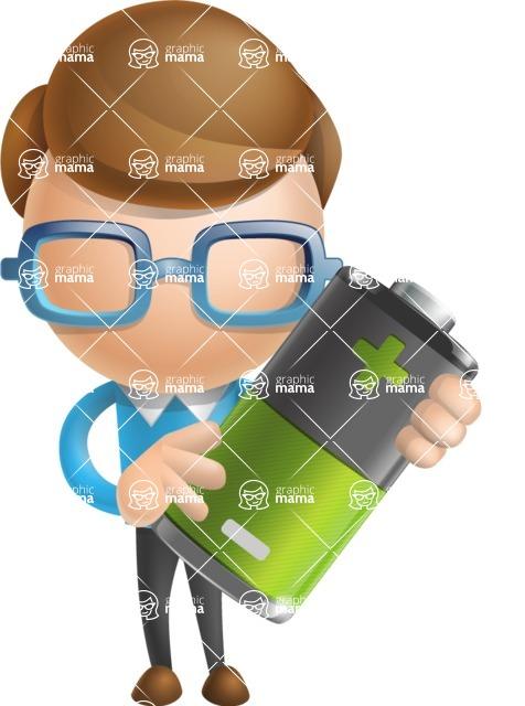 Simple Businessman Vector 3D Cartoon Character AKA Nerdy - Battery