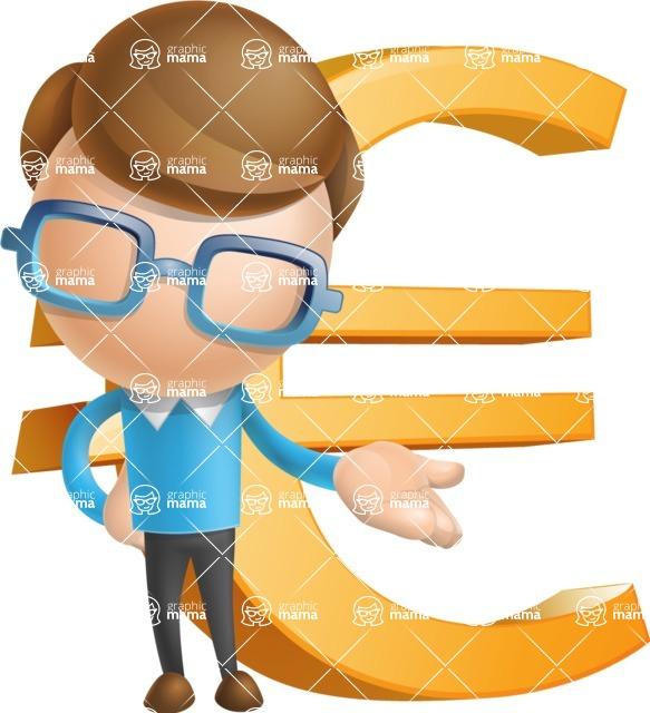 Simple Businessman Vector 3D Cartoon Character AKA Nerdy - Euro