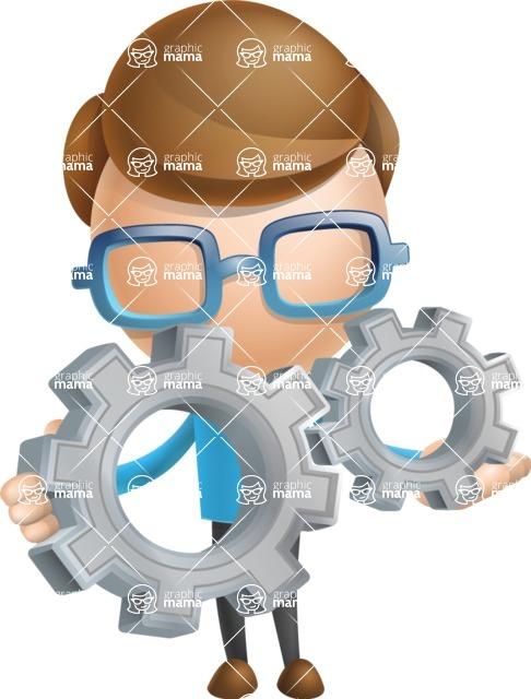 Simple Businessman Vector 3D Cartoon Character AKA Nerdy - Gears