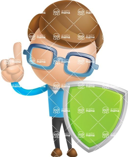 Simple Businessman Vector 3D Cartoon Character AKA Nerdy - Shield