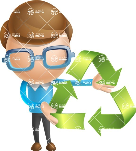 Simple Businessman Vector 3D Cartoon Character AKA Nerdy - Eco