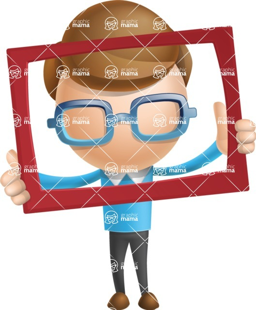 Simple Businessman Vector 3D Cartoon Character AKA Nerdy - Frame