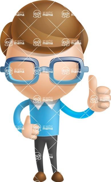 Simple Businessman Vector 3D Cartoon Character AKA Nerdy - Thumbs Up