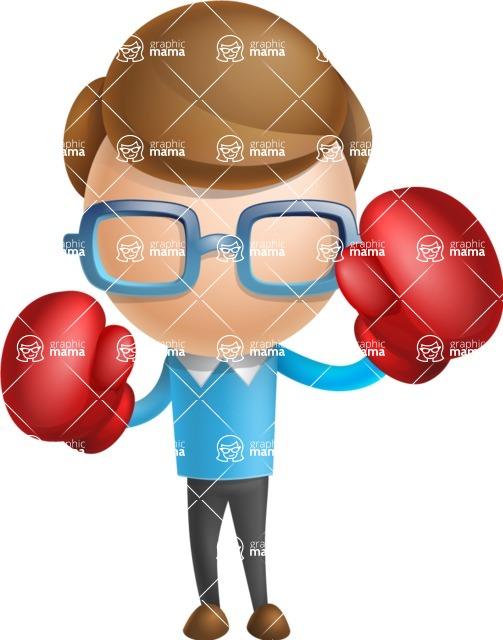 Simple Businessman Vector 3D Cartoon Character AKA Nerdy - Boxing