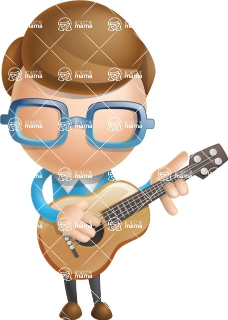 Simple Businessman Vector 3D Cartoon Character AKA Nerdy - Musician