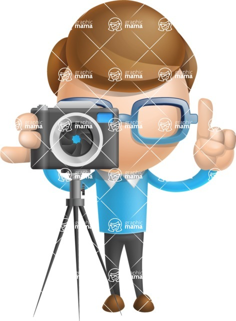 Simple Businessman Vector 3D Cartoon Character AKA Nerdy - Photo