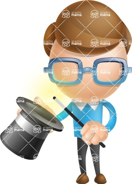 Simple Businessman Vector 3D Cartoon Character AKA Nerdy - Abracadabra