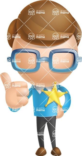 Simple Businessman Vector 3D Cartoon Character AKA Nerdy - Sheriff