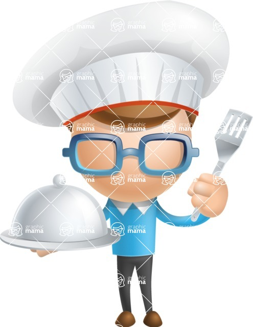 Simple Businessman Vector 3D Cartoon Character AKA Nerdy - Chef