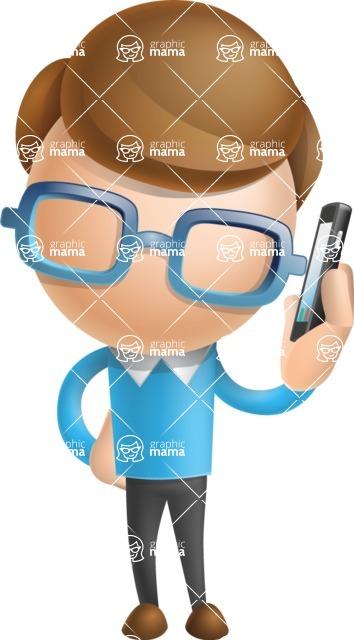 Simple Businessman Vector 3D Cartoon Character AKA Nerdy - Support 1