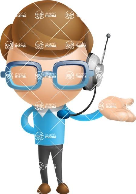 Simple Businessman Vector 3D Cartoon Character AKA Nerdy - Support 2
