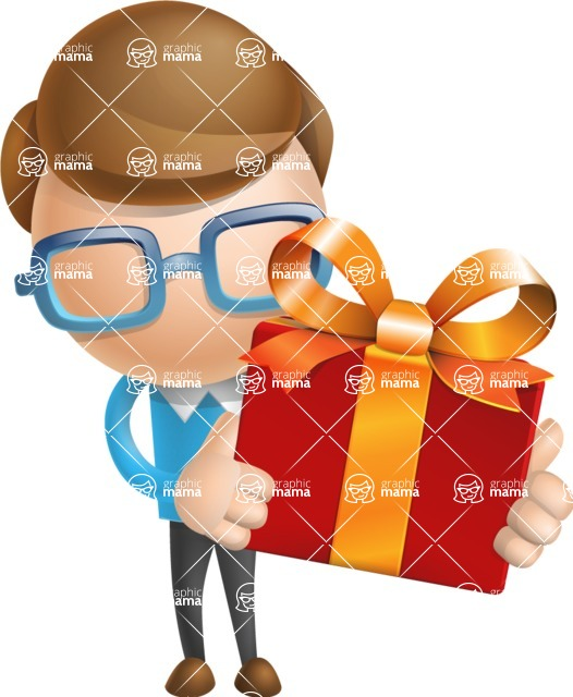 Simple Businessman Vector 3D Cartoon Character AKA Nerdy - Gift
