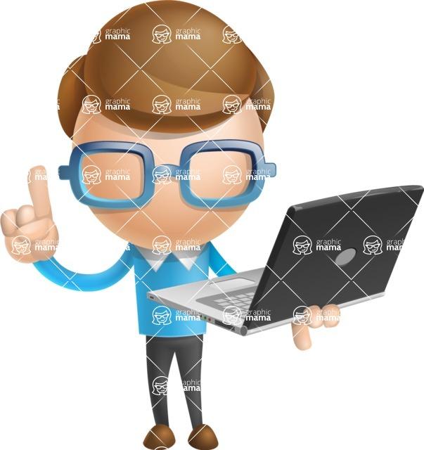 Simple Businessman Vector 3D Cartoon Character AKA Nerdy - Laptop 3